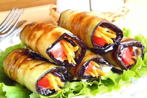Рулетики из баклажанов с овощной начинкой рецепты 9