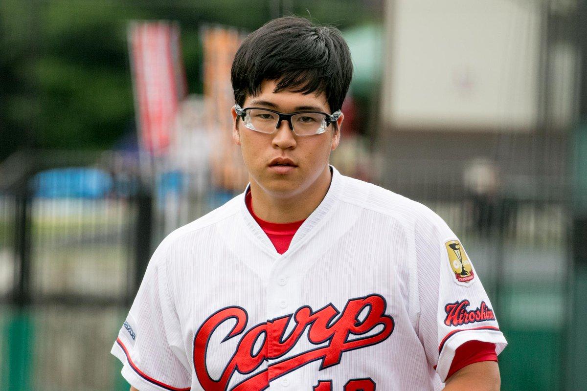 少年アシベみたいな髪型の加藤。いや、かわいいけどさ。←(2017.7.6 由宇) #carp #加藤拓也