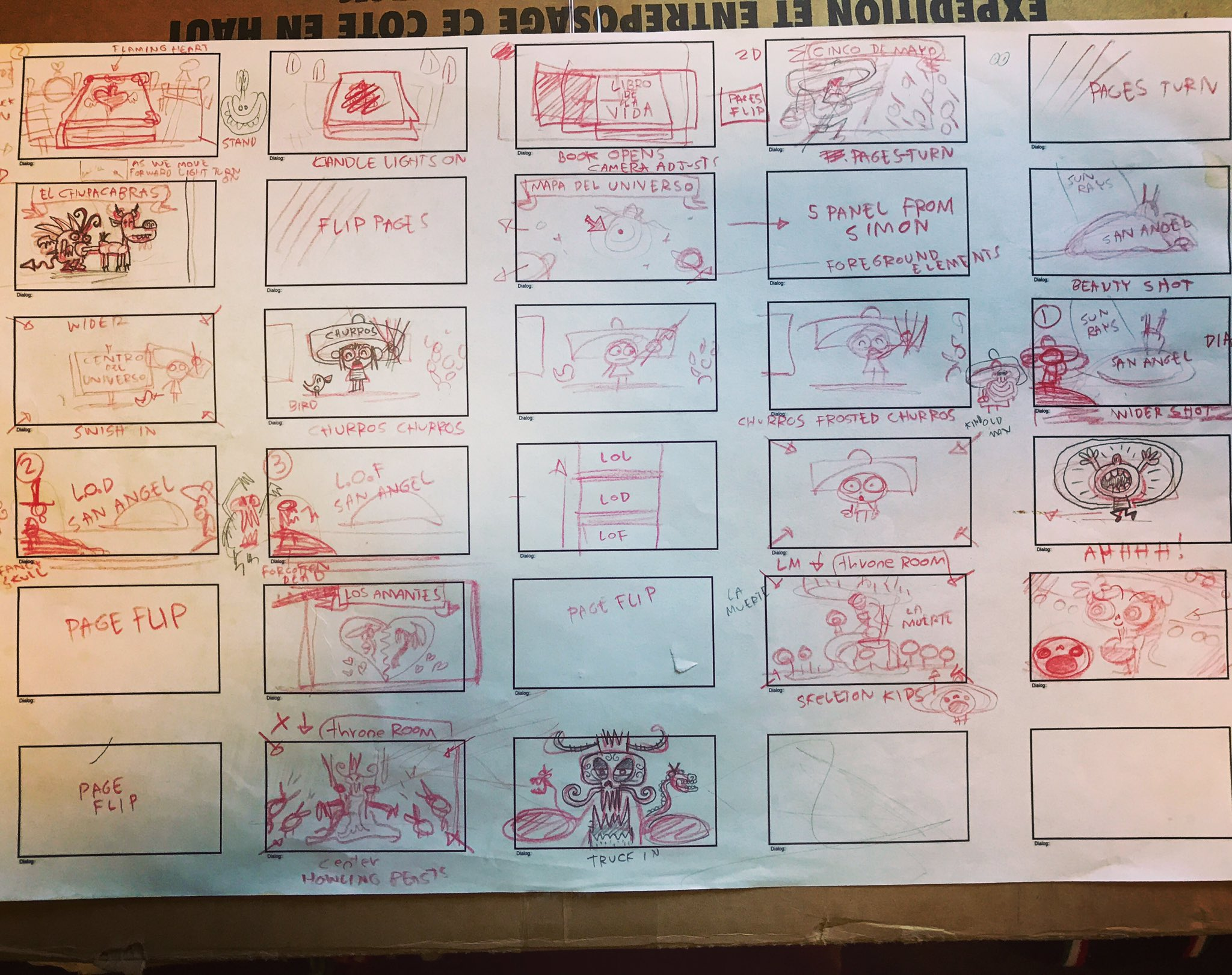 As I cleaned out my Reel Fx office I found my Book of Life thumbnails for the opening. It pretty much stayed like this for the final movie. https://t.co/rjm4OhM5q1