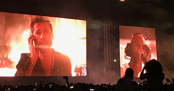 Brad Pitt made a surprise cameo onscreen during Frank Ocean's FYF Fest set: