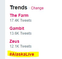 RT @TeamEmmmmsie: Quick get streaming @Lifeinalaska1   #AlaskaLive now trending 😂😂 #TeamEmmmmsie https://t.co/mitq35tY2G
