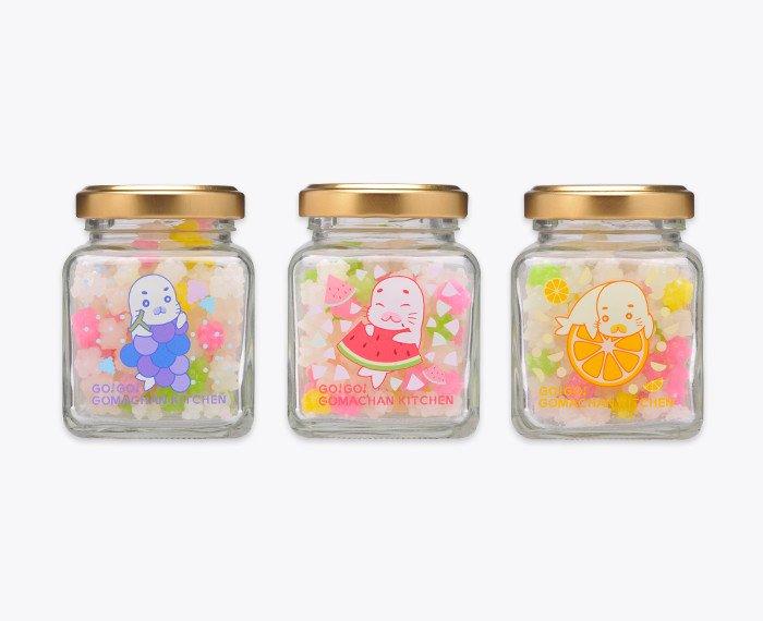 ↓New【7月のゴマちゃんグッズ情報】『GO!GO!ゴマちゃんキッチンオリジナル 瓶入り金平糖』(3種)発売日:7/29
