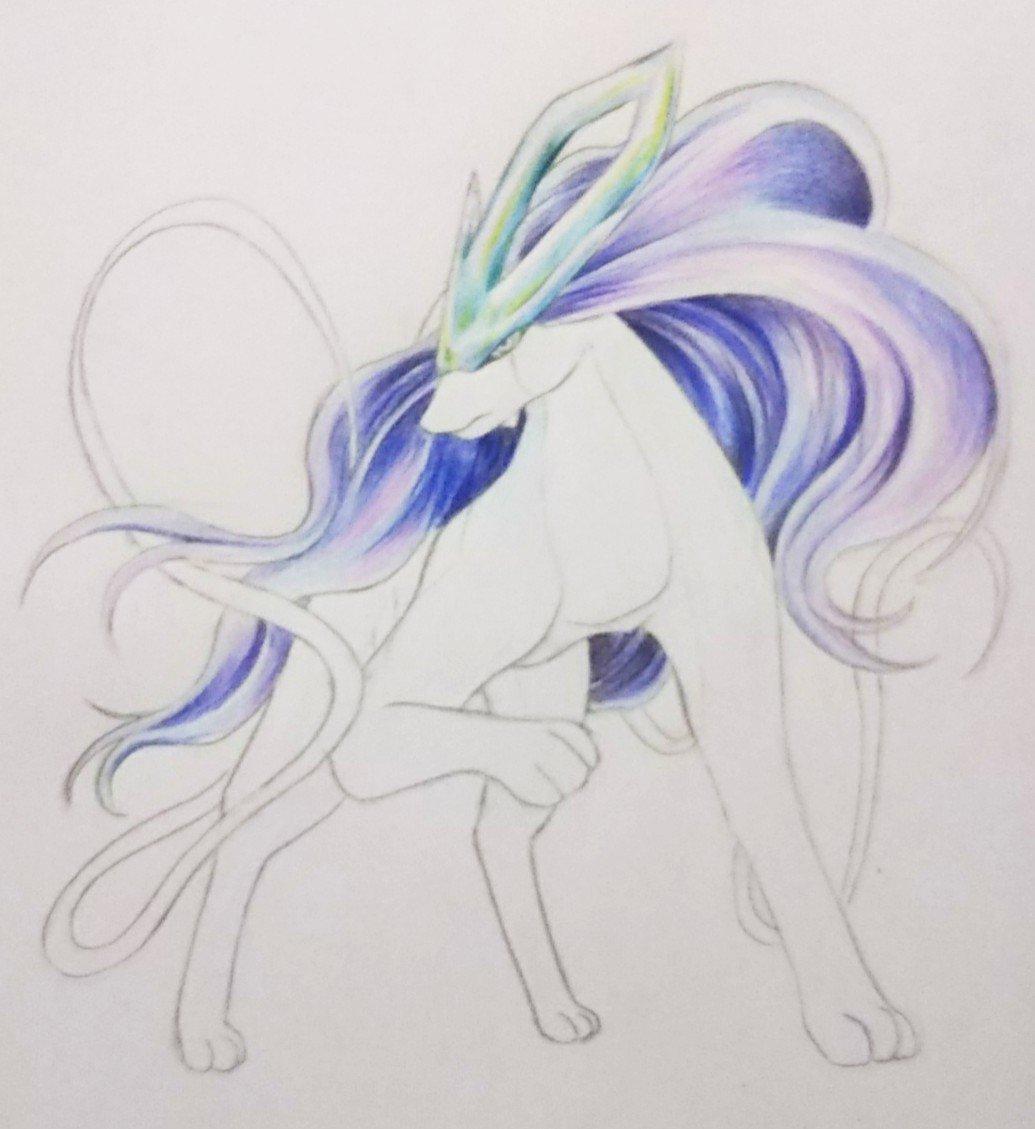 ポケモンのスイクン色塗り途中♪髪の毛と角を色鉛筆で塗ってみた♪久しぶりに色鉛筆を使用してます😊