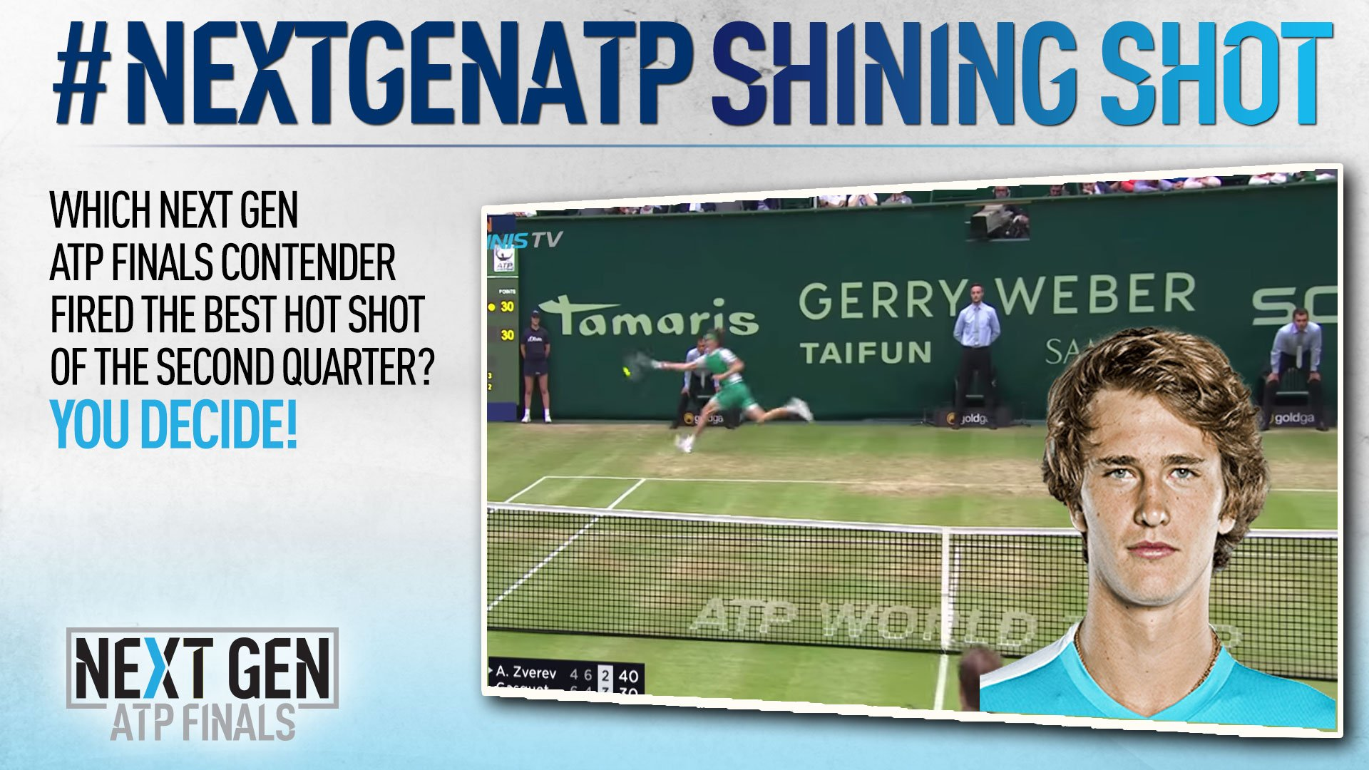 Sascha #Zverev is voted your favourite shot in the #NextGenATP Shining Shot Q2 poll. More: https://t.co/wUfQS1eSQd https://t.co/AdNhZtfcTv