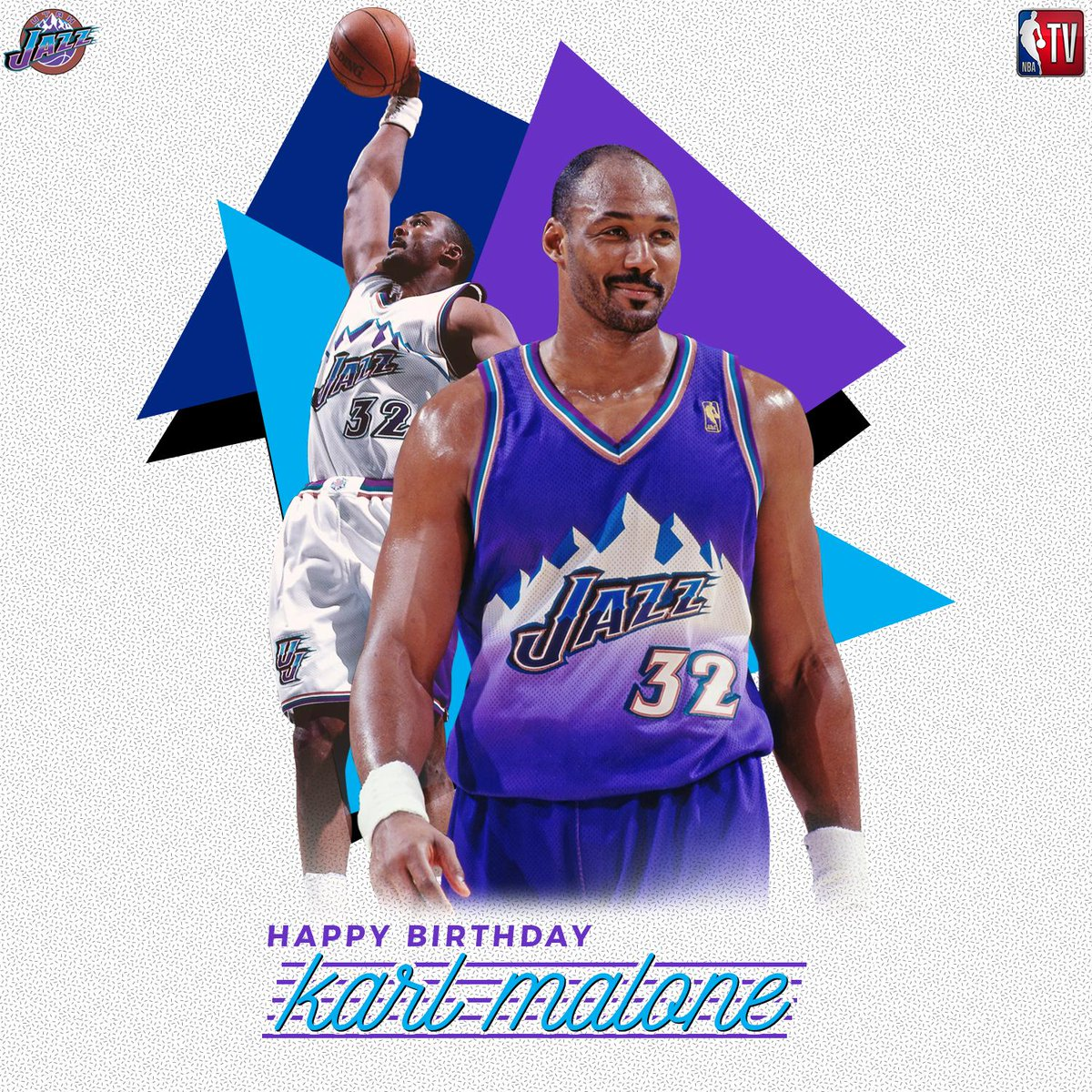 RT to help us wish 2x @NBA MVP, 14x All-Star and @utahjazz legend, Karl Malone a Happy Birthday! 🎉🎂🎉
