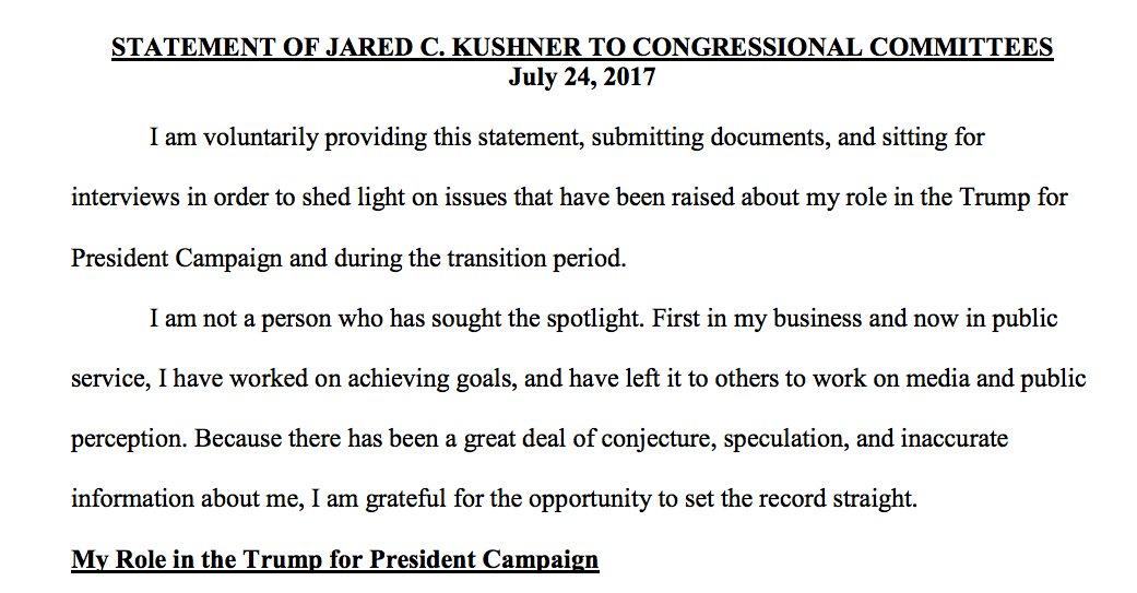 FULL DOC Today's Jared Kushner statement to Congress
