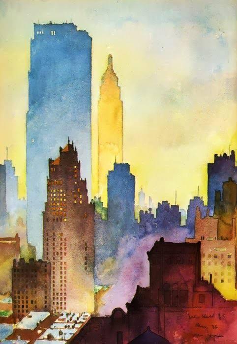John Held Jr , NYC Skyline, watercolor, 1936. https://t.co/DYTjiRaXIU