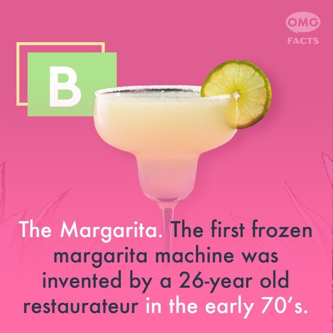 @OMGFacts: It's the margarita, of course! Now go celebrate #NationalTequilaDay and #MargaritaMonday! Responsibly, of course. ? https://t.co/3vnfyWPTSk