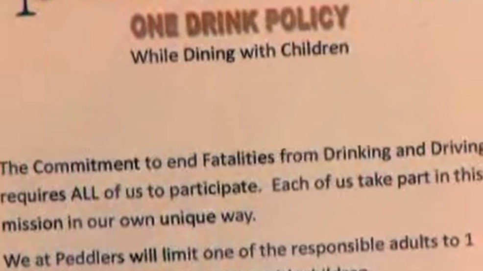 New York restaurant limits parents to one drink if kids are with them