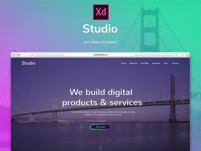 Studio Adobe Xd    Ui kit by Milos Knezevic freebie