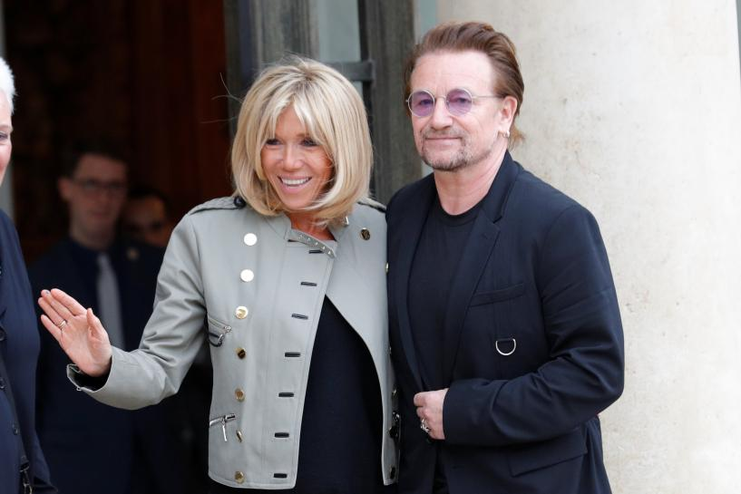 France's Macron confirms aid targets in meeting with U2's Bono