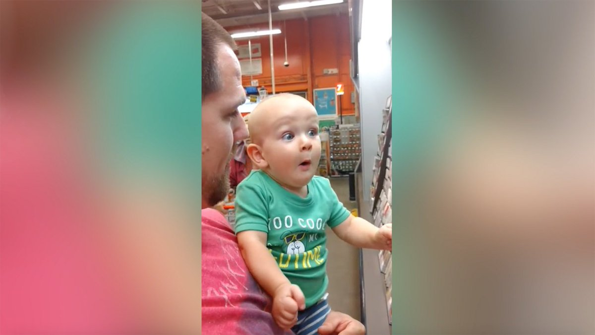 Watch this baby burst with joy every time he sees a paint swatch