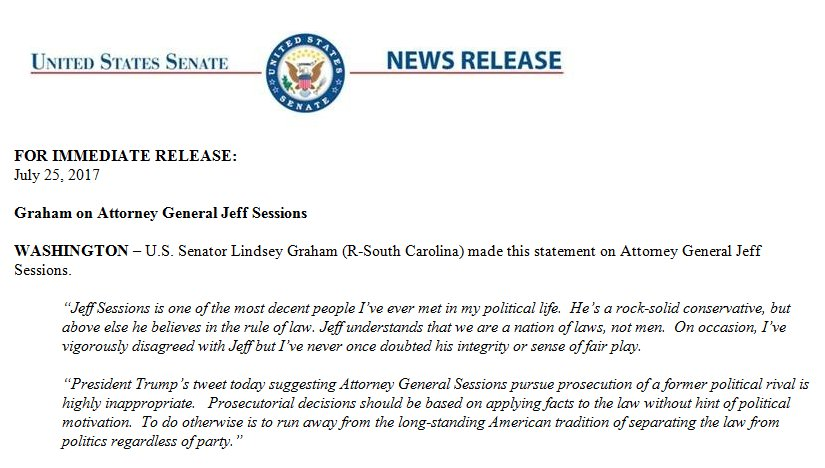 Sen. Graham's full statement on Pres. Trump's tweet this morning about AG Sessions.