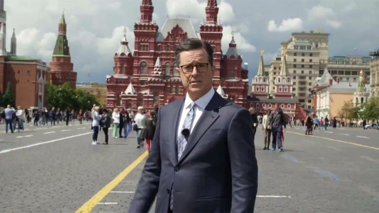 """Stephen Colbert's """"Russia Week"""" widens ratings lead"""
