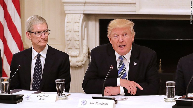 "President Trump says Apple has promised to build ""3 big plants, beautiful plants"" in US"