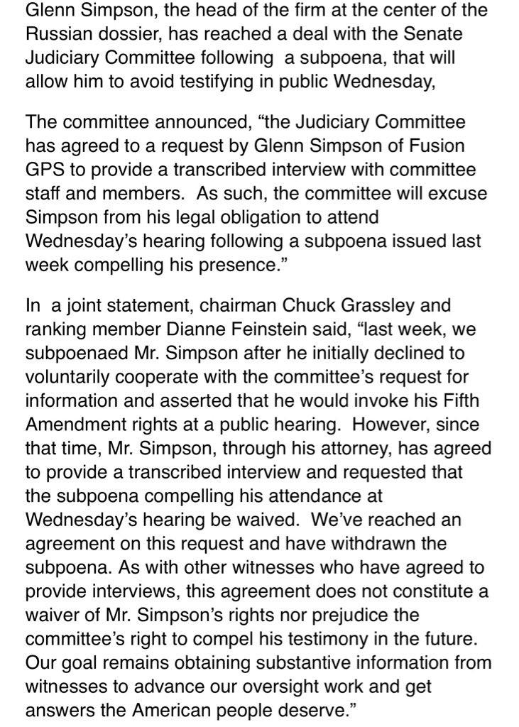 Fusion GPS' Glenn Simpson cuts deal with Senate Judiciary Committee