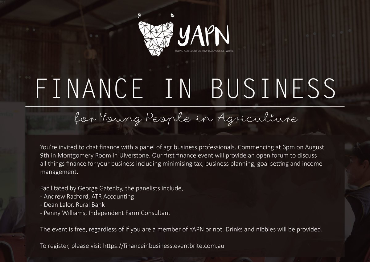 Our first finance event is coming up on August...