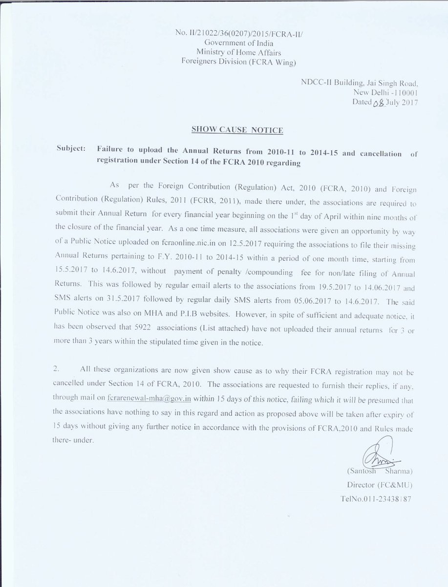 u0027swarna bharat trustu0027 has been issued a show cause notice from foreign