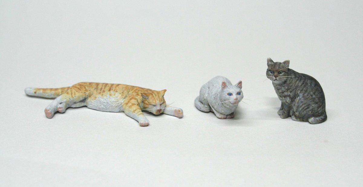 指乗りサイズの猫たち♪♪(´ε` )「猫セット01」、今回もワンフェスで販売します!ヒゲはセットに含まれてませんが、筆や