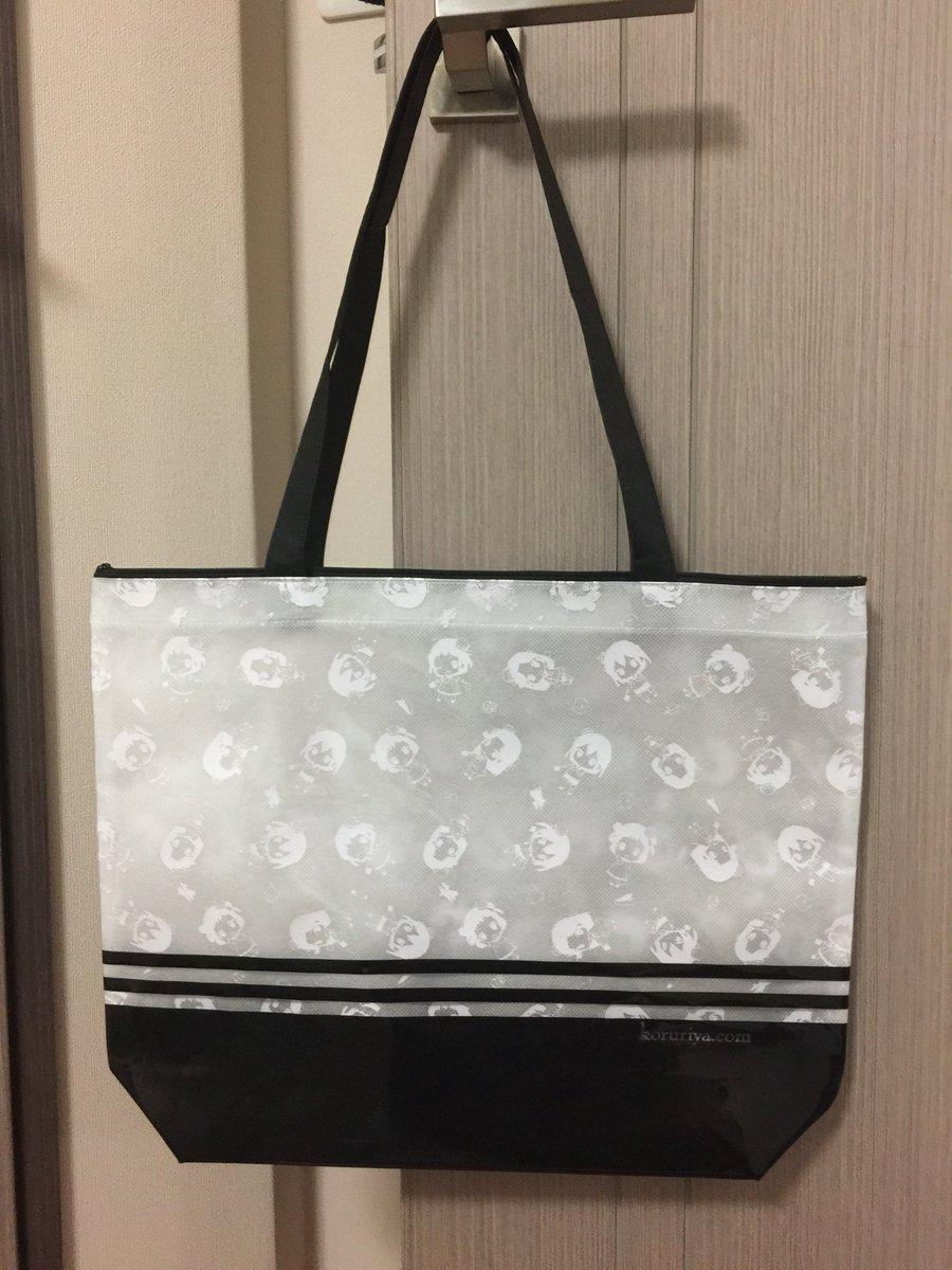 コミケのセットに付いてくるバッグのサンプルです 船底ファスナー付き、白不織布に白インク印刷、PVC張りで夏っぽく…。肩掛