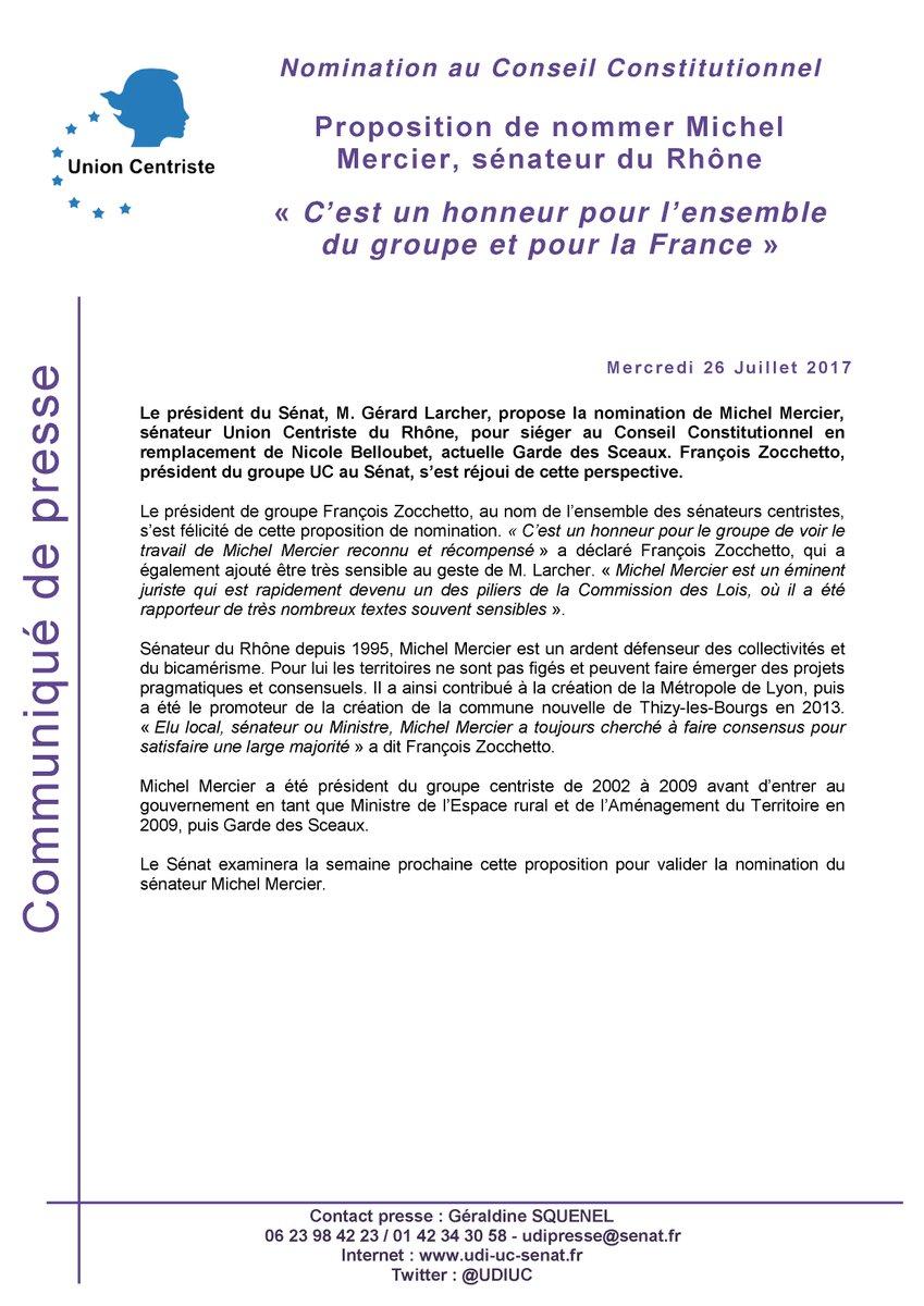 Le Sénat propose de nommer le sénateur Michel Mercier, ancien président du groupe UC, au @Conseil_constit