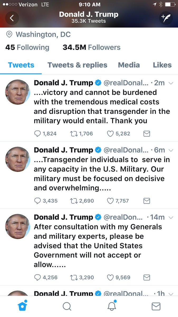 5/ POTUS this morning says no transgender Americans can serve, period.