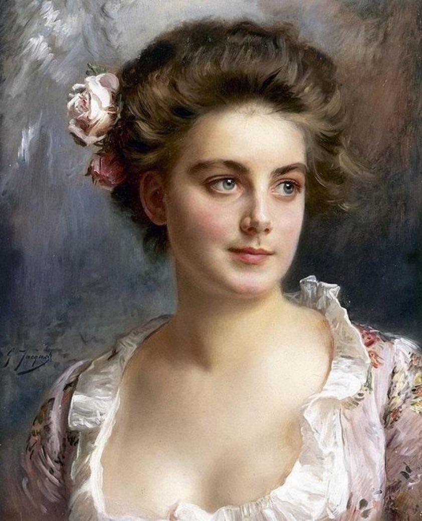 #DonneDipinte ...le rose tra i capelli e il cielo negli occhi  Le donne di Gustave Jean Jacquet (Parigi, 1846-1909) Portrait d'une Elegante https://t.co/QfsxW4rOhf