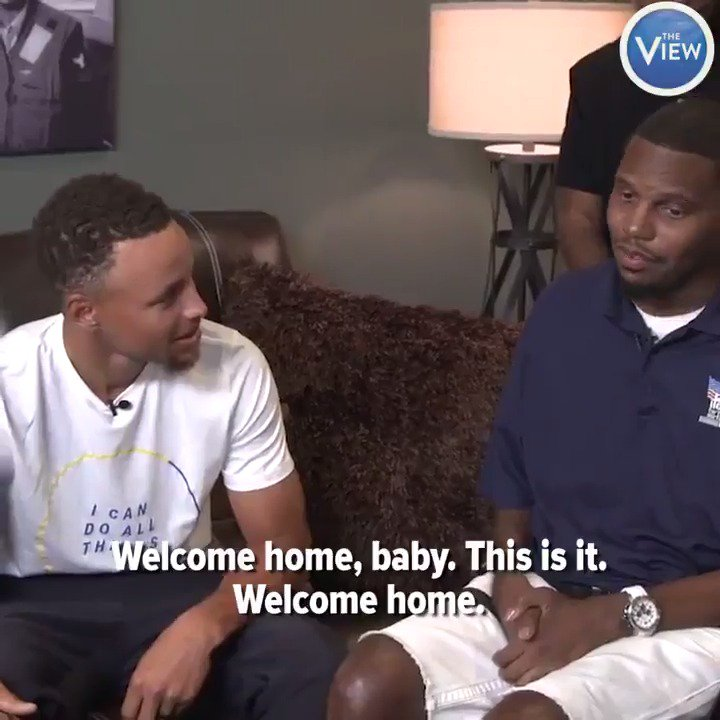 Disabled Navy veteran welcomed into new home with surprise visit from NBA? star Steph Curry.