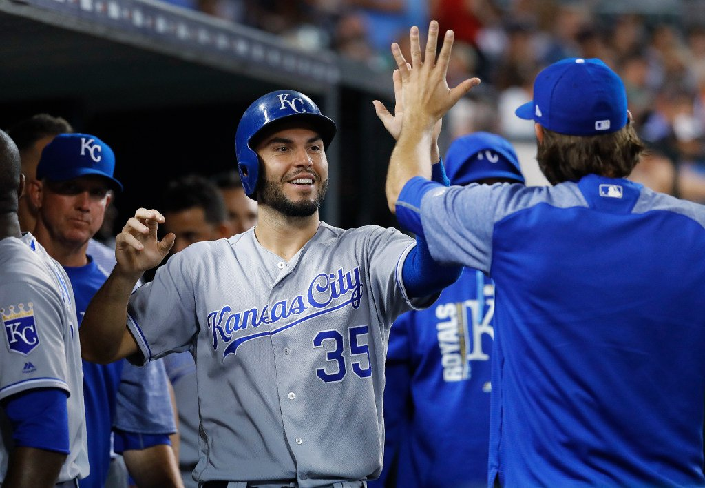 Eric Hosmer hit his 1st grand slam for the @Royals in his 78th career PA with the bases loaded