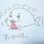 ボールペンでスイカの日記念をば✨✨脱線しつつ箱根へ旅に出る準備中。もちのろん✨ゴマちゃんも持ったよ\(^o^)/#ゴマち
