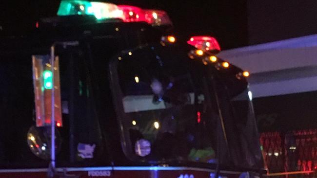 Chicago fire truck responding to traffic crash struck by bullet