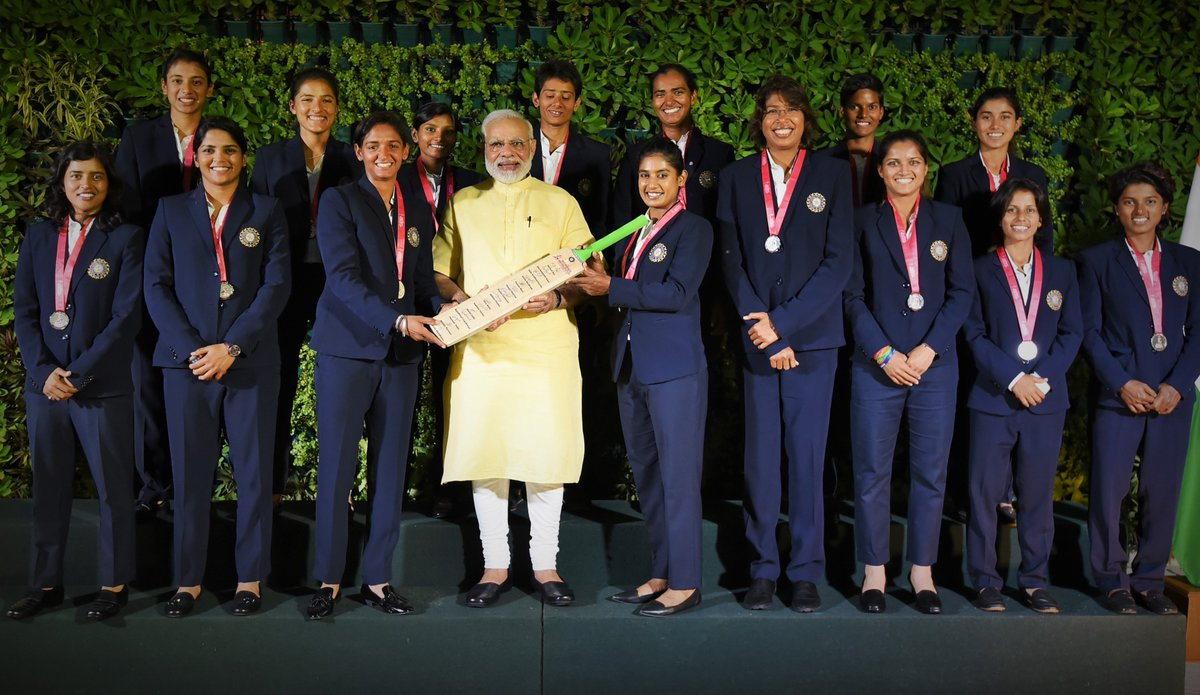 Had a wonderful interaction with the Indian cricket team that took part in the women's cricket world cup. @BCCIWomen