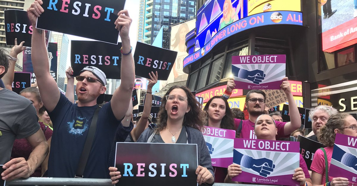 "Times Square flooded with people protesting Trump's ""disgraceful"" trans military service ban"