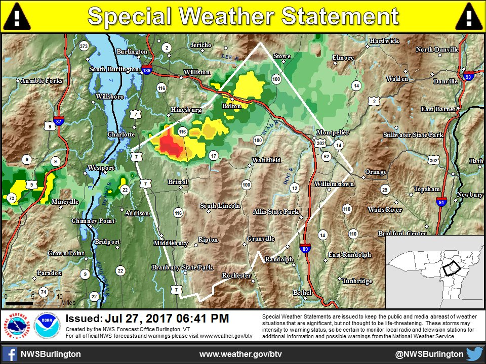 test Twitter Media - 6:40 PM - A special weather statement has been issued for parts of Central VT.  https://t.co/uziulKW5TU https://t.co/3vN5by20bc
