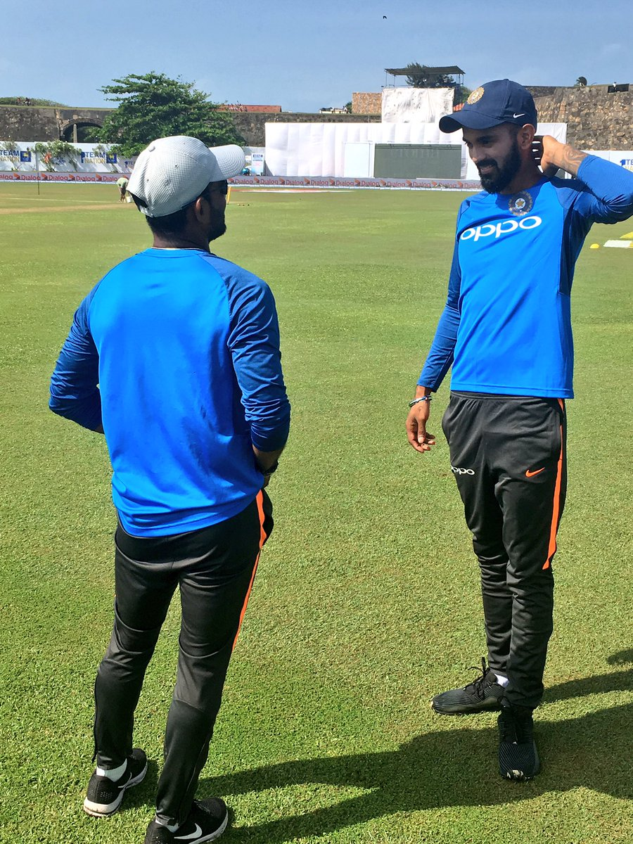 Back on the field to a warm welcome. @klrahul11 all smiles after joining the team this morning #TeamIndia #SLvIND