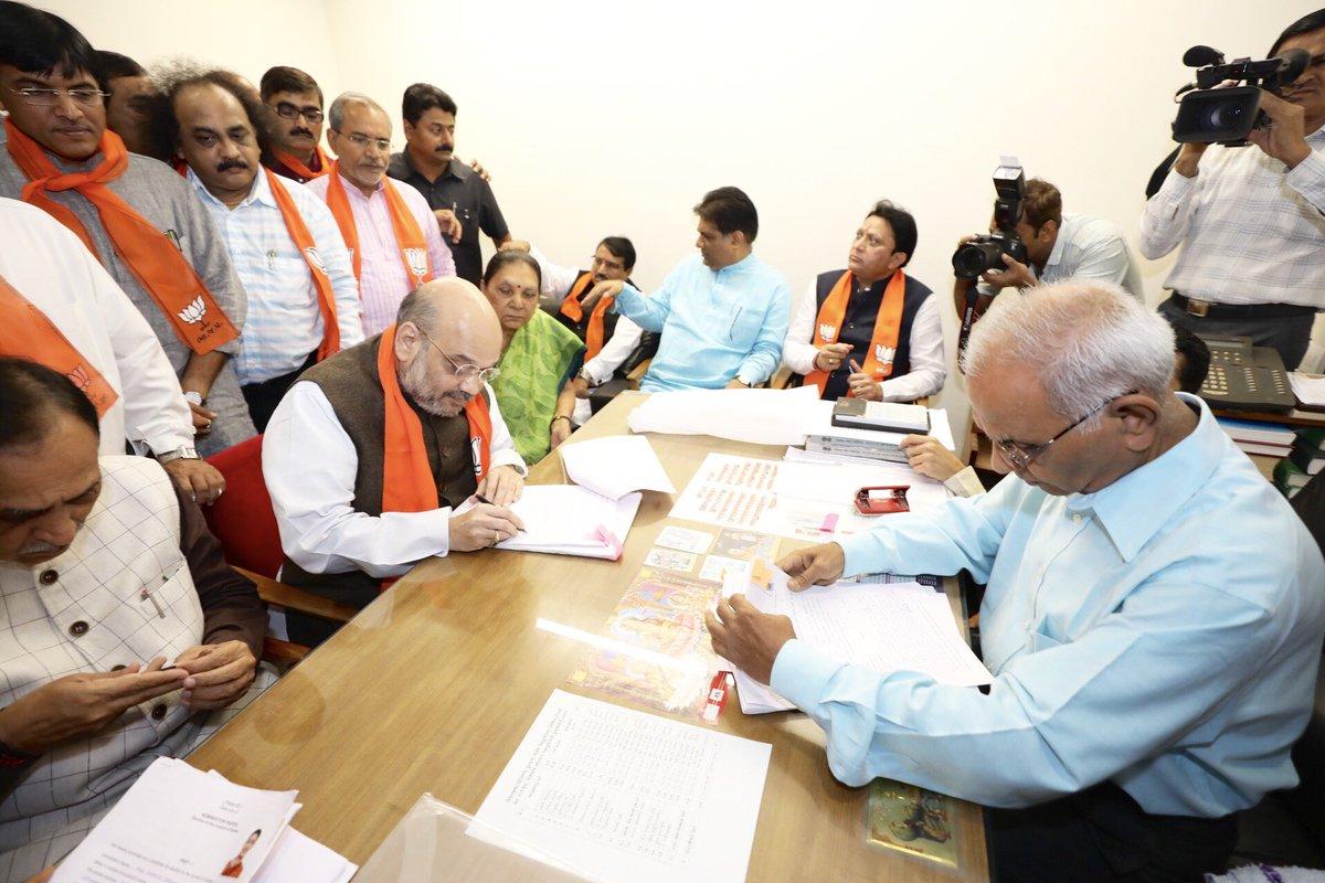 BJP National President Shri @AmitShah files nomination for Rajya Sabha elections from Gujarat.