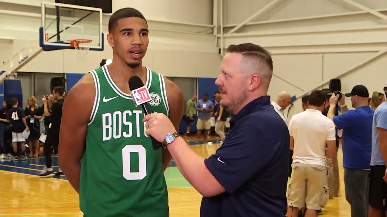 .@langwhitaker chats with @celtics @jaytatum0 at #PaniniNBARookie Photo Shoot! https://t.co/uG0KkyUI4t