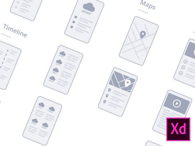 Adobe XD Mobile Wireflows   Template by Dimitris Chronopoulos freebie
