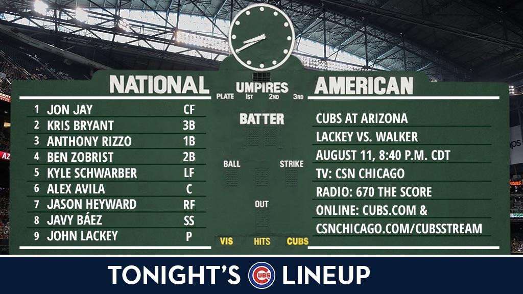 Here is tonight's #Cubs starting lineup against the #Dbacks.  Game preview: https://t.co/3aF5venweZ https://t.co/cf0IKmDpuH