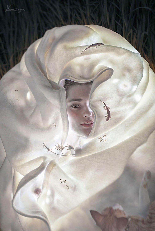 #DonneInArte #CatLovers  Con la mente già nei sogni...  #Buonanotte   Elena Vizerskaya #digitalart   @BrindusaB1 @AlessandraCicc6 @Papryka5 https://t.co/2BJU4RwMzd