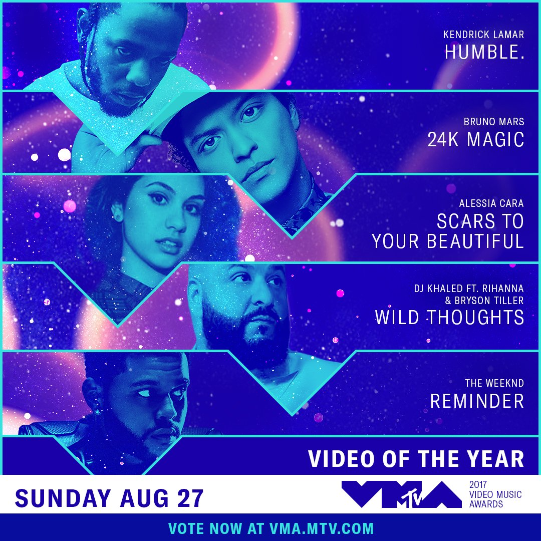Vote for Video of the Year presented by @verizon at the 2017 @VMAs + see who wins on 8/27: https://t.co/m9RYjP3EcB https://t.co/CkwuN0O7no