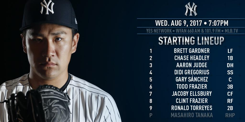 Tanaka takes the mound tonight. He's 8-3 with a 2.52 ERA in 12 career starts vs. Toronto. https://t.co/iaWKo0Z3Ml https://t.co/BIOGT9CcCB