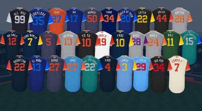 The 11 best nicknames that big leaguers will sport for #PlayersWeekend: https://t.co/UiB3d8yKP2 https://t.co/xVK616byvm