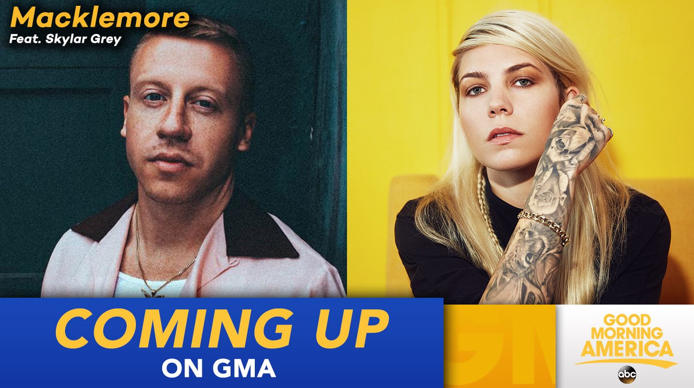 COMING UP ON @GMA: @macklemore will perform LIVE in studio with @SkylarGrey! https://t.co/OE0tttHL4s