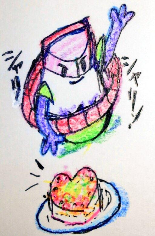 ハートミン描いたら、私の中でこの子がアピールしてきたので描いてあげましたw(ハート型の寿司ケーキにしたけど…分かりにくい