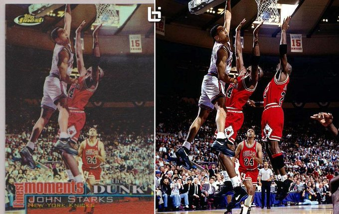 Happy Birthday to John Starks! LOL at Topps removing Jordan from this basketball card: