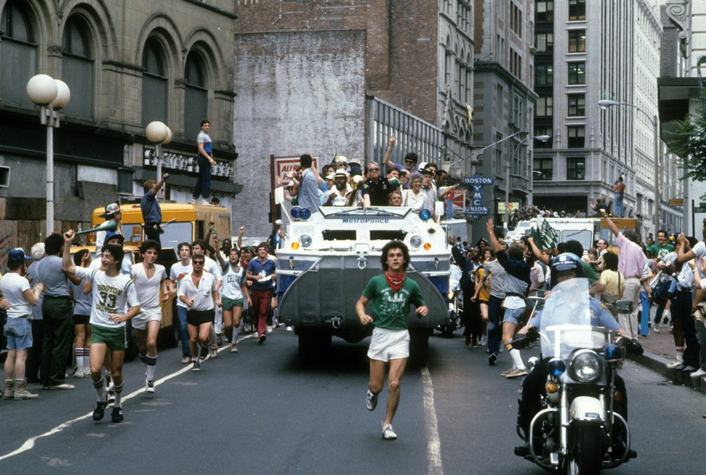 Celtics fans celebrate the team's 15th championship during a parade through downtown Boston in 1984. https://t.co/NbcnXFARRP