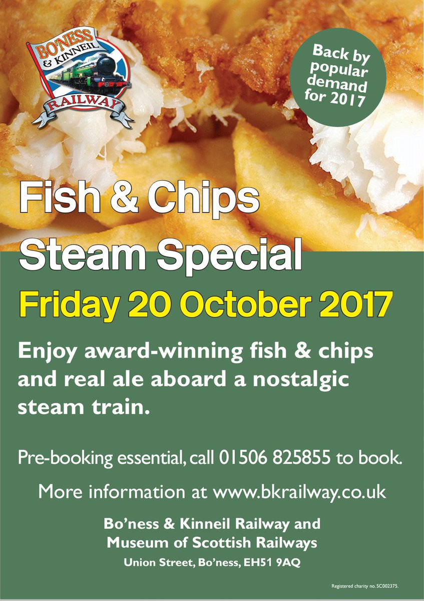 test Twitter Media - RT @bonessrailway: Back by popular demand! Our Fish & Chips #SteamTrain Special on Friday 20 October 😀 ^JS https://t.co/I98JJiMp0k