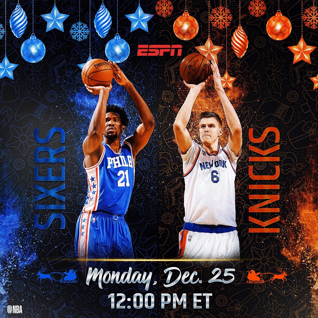 #NBAXmas 2017 ����!  12pm/et on ESPN: @sixers visit @nyknicks https://t.co/gz90zzLXbp