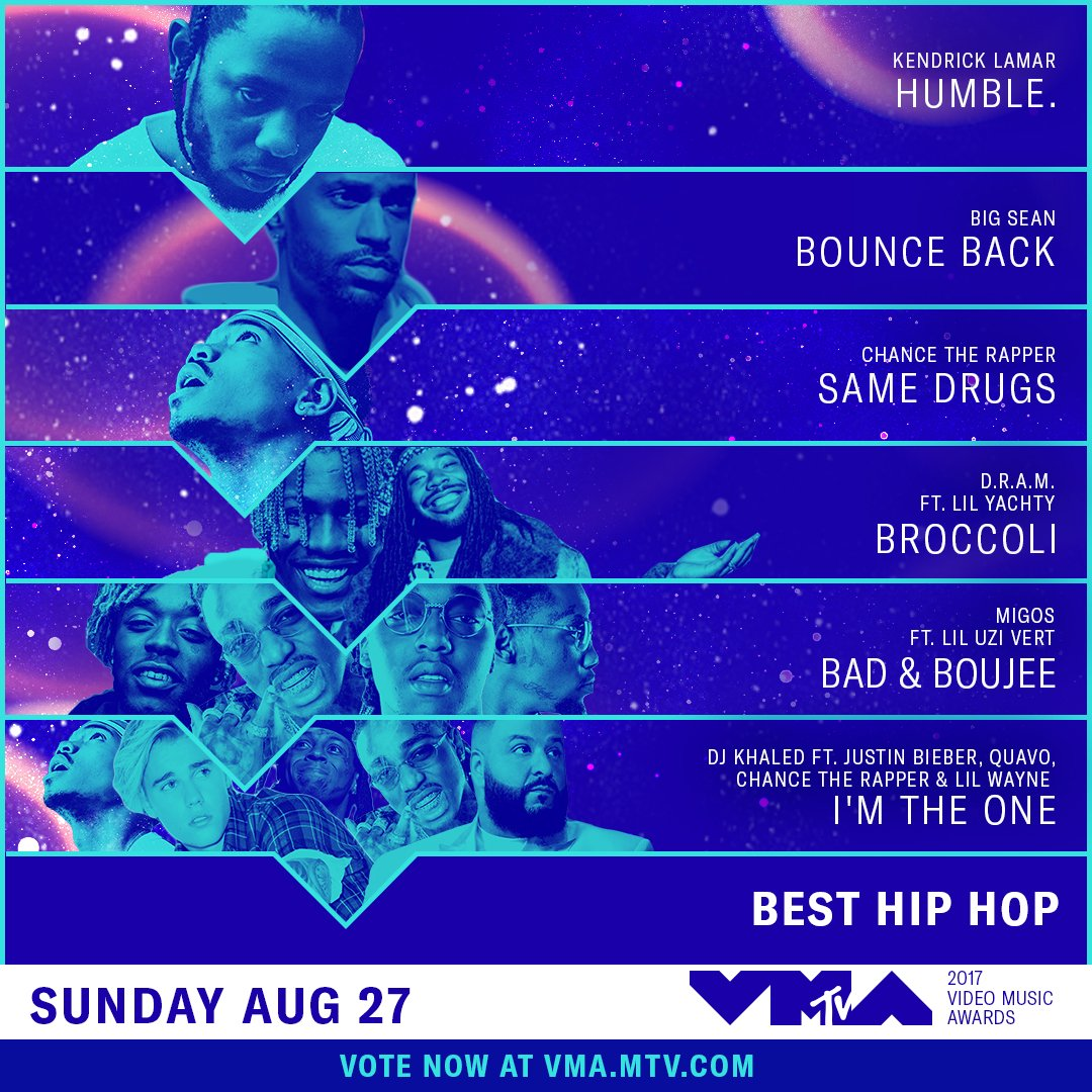 The race is on. Who will win Best Hip Hop at the @VMAs on 8/27? The choice is in your hands: https://t.co/XrGqxctNE1 https://t.co/NW3p077HSU